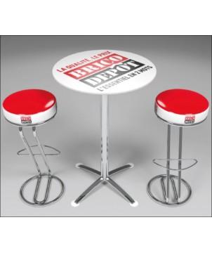 Kit Mange debout + tabourets personnalisés Pause café - Décoration entreprise Mobilier d'entreprise personnalisable - printecom.
